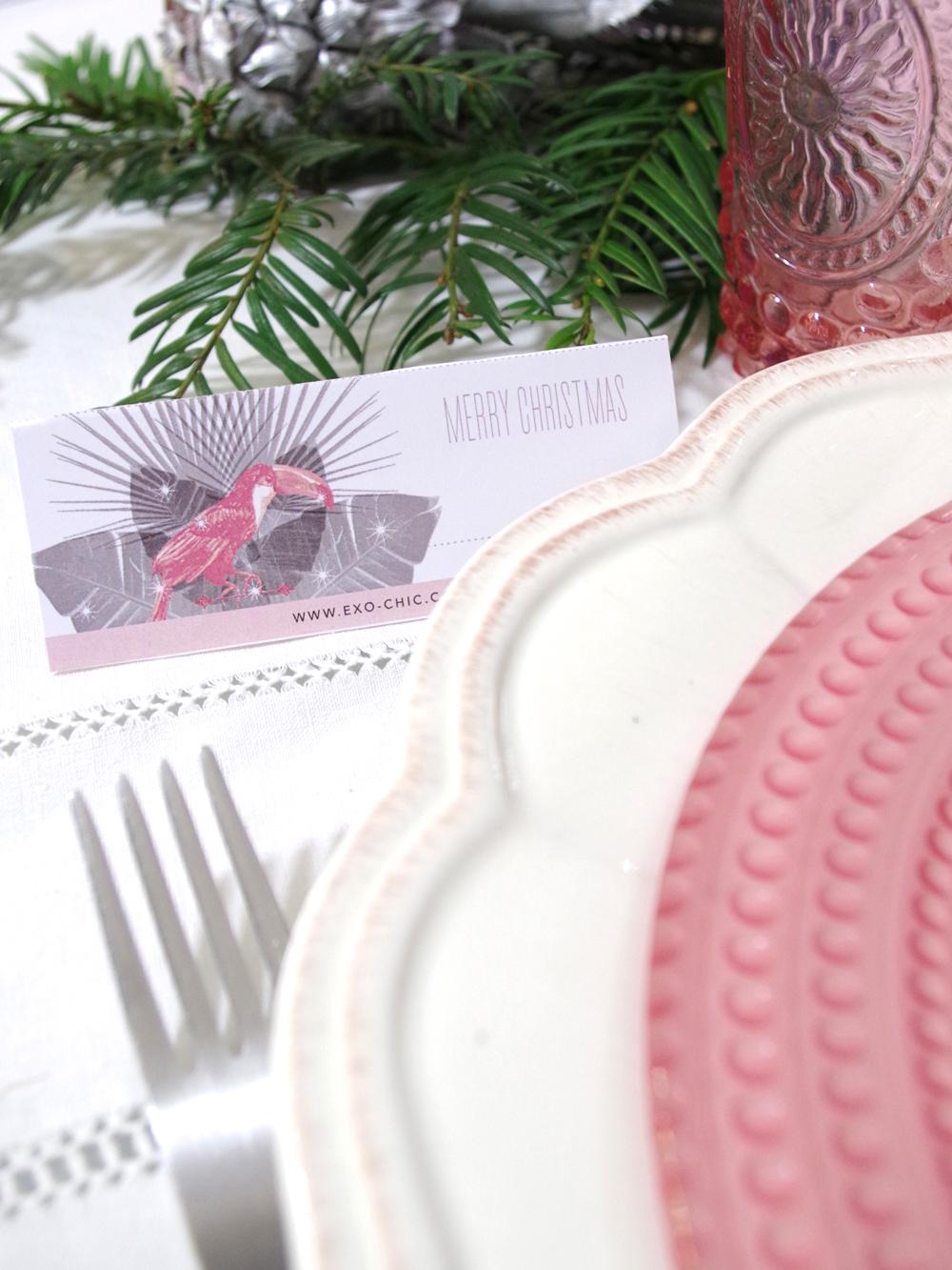 menu et marque place de noel exochic