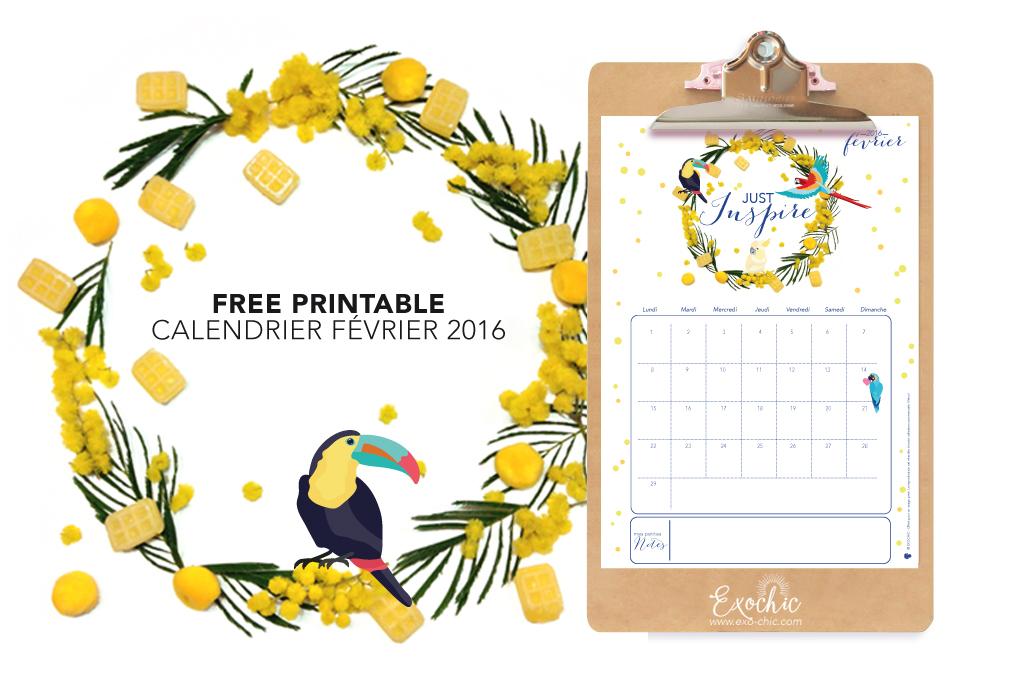 calendrier free printable février 2016