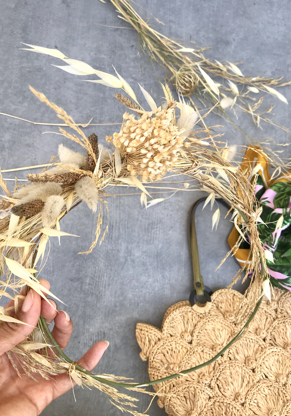 slide DIY couronne de graminees et herbes sauvages exochic